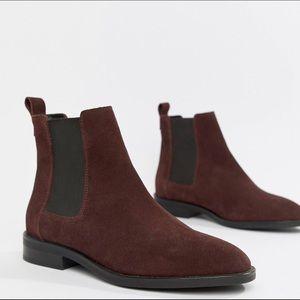 ASOS Burgundy Suede Chelsea Boots